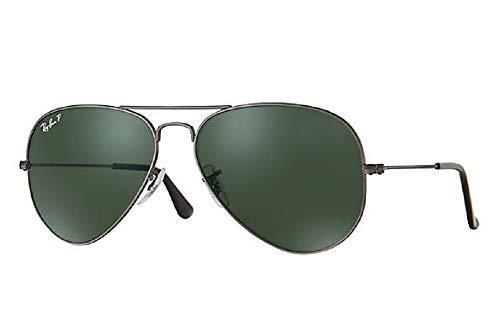 Ray-Ban Sunglasses - RB3025 Aviator Large Metal / Frame: Gunmetal Lens: Crystal Green Polarized (58 ()