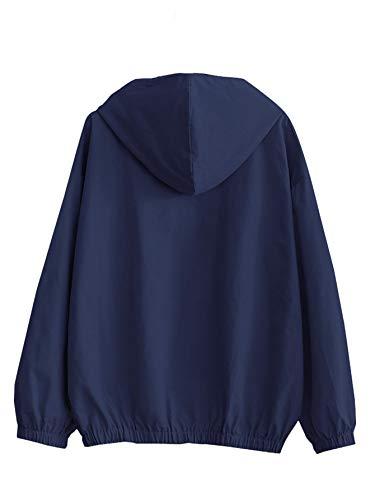 Romwe Women's Lightweight Kangaroo Pocket Anorak Sports Jacket Drawstring Hooded Zip up Windproof Windbreaker Navy S by Romwe (Image #1)