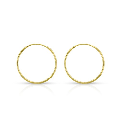 14k Yellow Gold Women's Endless Tube Hoop Earrings 1mm Thick 10mm - 20mm (14mm)