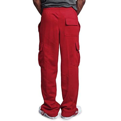 Rosso Zolimx Tuta Pantaloni Impiombatura Uomini Lunghi Pocket Casual Uomini red Sport Pantalone Lavoro wwdPrq