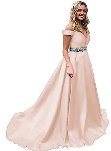 oulder Prom Dress A-Line Satin Evening Formal Gown for Women ()