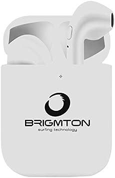 BRIGMTON BML-18B Blanco Auriculares INALÁMBRICOS Manos Libres Bluetooth con MICRÓFONO Y Estuche BATERÍA