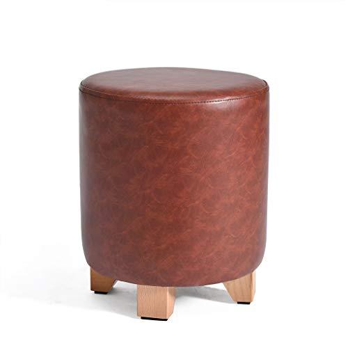 JJXZM Upholstered Footstool Round Wood Support Ottoman Children Stool Dark Red Leather 4 Legs Living Room Sofa Stool