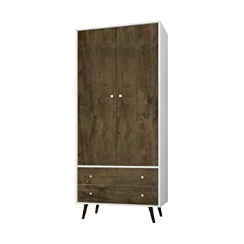 Manhattan Comfort Liberty Collection Mid Century Modern Armoire Closet With  Two Cabinets And Two Drawers, Wood/White