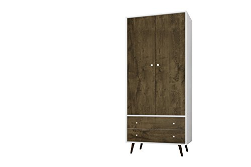 Manhattan Comfort Liberty Collection Mid Century Modern Armoire Closet With Two Cabinets and Two Drawers, Wood/White (Bedroom Modern Wardrobe)