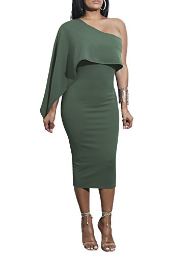 Govc Women's One Off Shoulder Stretchy Bodycon Midi Pencil ()