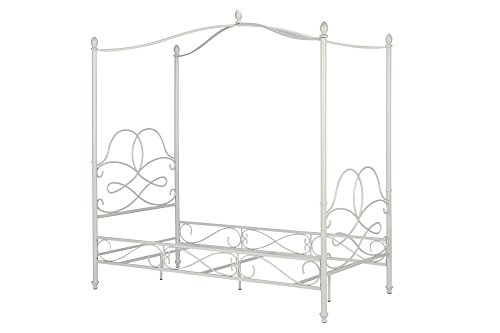 DHP Fancy Metal Canopy Bed, Twin Size - White