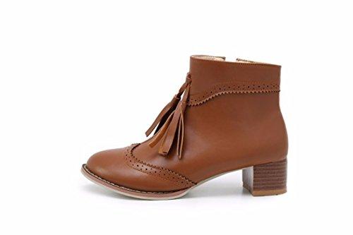 RFF-Womens Shoes Lautomne et LHiver Vintage Fringe Bottes Courtes Bottes Pour Femmes avec UNE Grande Taille, Marron, 39