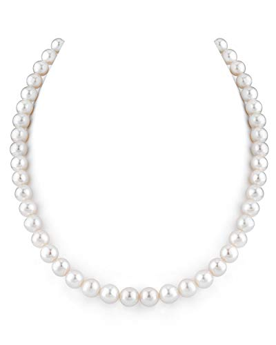 THE PEARL SOURCE 14K Gold 8.0-8.5mm AAA Quality Round White Freshwater Cultured Pearl Necklace for Women in 18