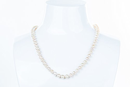 White Off-Round Freshwater Pearl Necklace 8mm 22