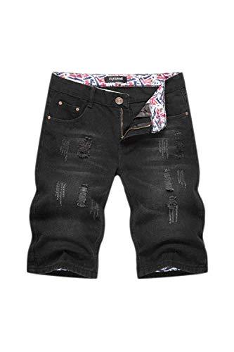 Hombre Hombre Jeans Corto Ttert Lavado Cher Ligero Pant Holes Ropa Moda Vintage Pantalones Cortos De Mezclilla Casual Pantalones Cortos Negro