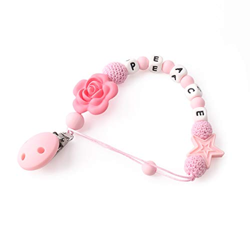 Biter teether Baby Silicone Pacifier Chain Teether Rose and Star Shape Teething Pacifier Clip Baby Pacifier Holder Nursing Toys