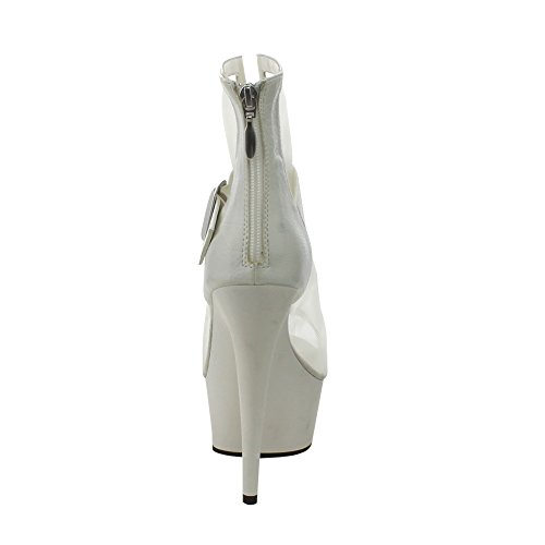 Pleaser - Botas para mujer Wht Faux Leather-Mesh/Wht
