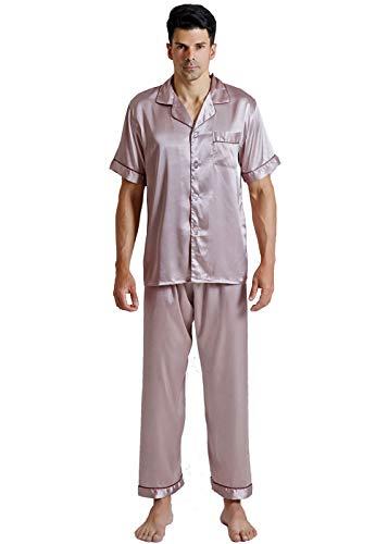 KKQ Pajamas for Men Mens Silk Pajamas Set Polo Pajamas (L, Cameo Brown) ()