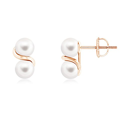 Two Stone Freshwater Cultured Pearl Earrings with Metal Swirl in 14K Rose Gold (5mm Freshwater Cultured Pearl)