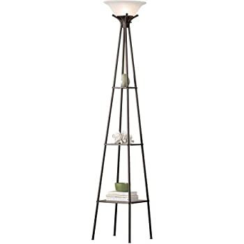 Coaster 901420 Floor Lamps Torchiere Floor Lamp With Clear Glass Shelving Home Garden Lamps