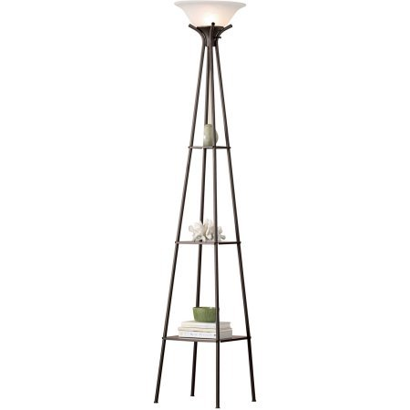 Mainstays Etagere Floor Lamp Charcoal Finish, 69.5