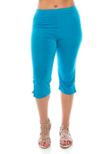 Jostar Women's Stretchy Capri Pants Large Turquoise