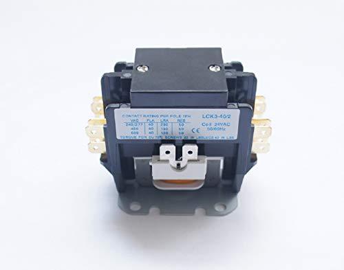 BlueCatELE 2 Pole Air Conditioner Contactor Condenser Contactor Compressor Contactor FLA 40 Amp 24V Coil