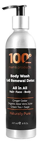 Mens Face Wash Cell Renewal Detox 8OZ- Body Wash All in All for Men 100 Celsius - For Hair, Face and Body w/ 100% Organic Extracts- Sage, Green Tea and Ginger Cedar.