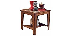 Ashley Furniture Signature Design   Toscana Square End Table   Slate Tile  Top And 1 Fixed Shelf   Vintage Casual   Rustic Brown