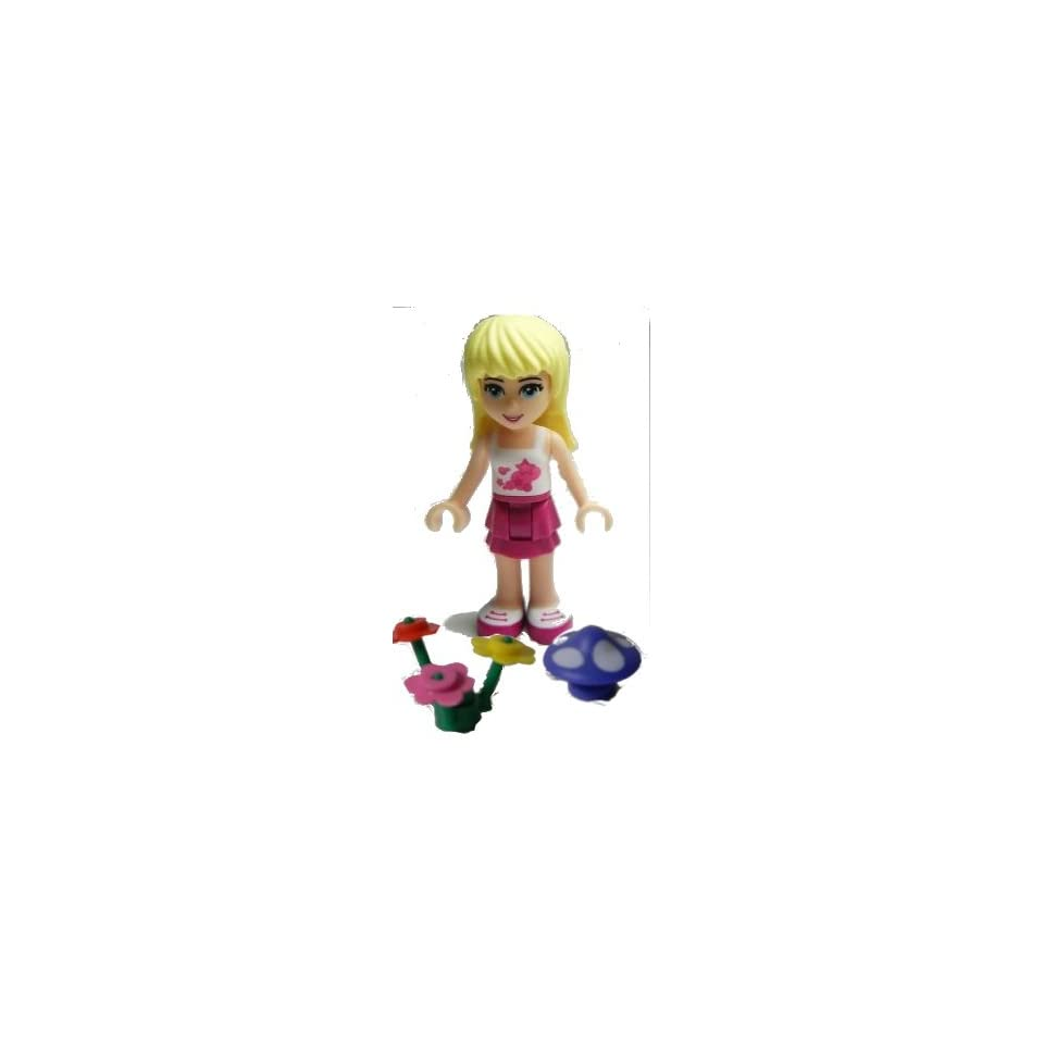 Lego Friends Loose Minifigure Stephanie, Magenta Layered Skirt, White Top (Includes Mushroom and Flowers)