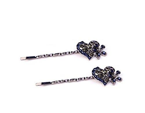 2 Pairs Rhinestone Hair Clip Clamps Bobby Pins(Heart (Rhinestone Heart Hair Pin)
