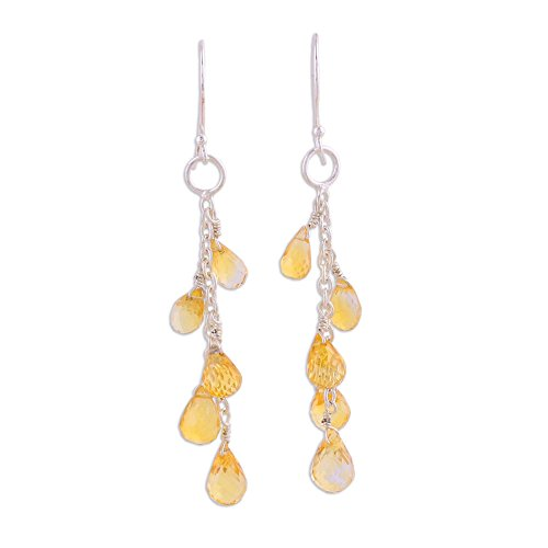 NOVICA Citrine .925 Sterling Silver Dangle Hook Earrings 'Sunlit Waterfall'