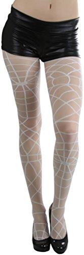 (ToBeInStyle Women's Woven Spider Web Sheer Spandex Pantyhose - WHITE)
