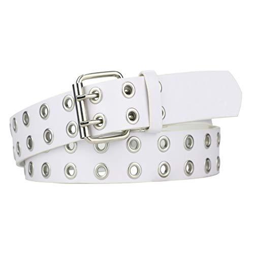 Womens Belts for Jeans, Studded Double Grommets Leather Belt Women Men-White M