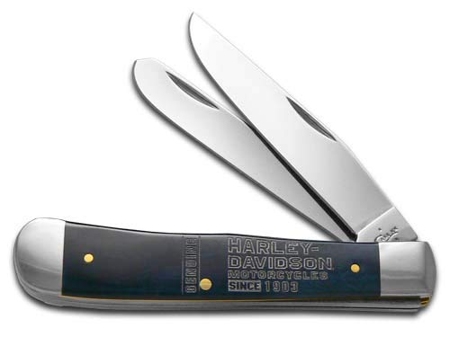 CASE XX Harley-Davidson Blue Bone Trapper Stainless Pocket Knife Knives