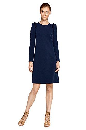Kleid Marineblau Linien mit Nife Damen A Abendkleid Rüschen IqCHwPB