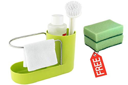 Convenient Kitchen Sink Organizer, Sink Caddy, Sinkware, Sponge Holder, Soap Dish, Brushes and Scrubbers Holder, Bathroom Caddy, Bathroom Organizer | 2 Top Quality Sponges FREE by SKA HomeStore (Image #9)