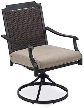 Four Seasons Courtya 18S3120B-REV Charleston Patio Cushioned Swivel Dining Chair, Wicker Back - Quantity 2