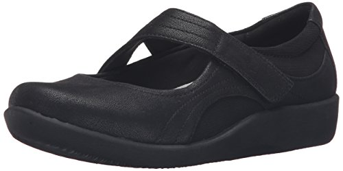 CLARKS Women's Sillian Bella Mary Jane Flat, Black Synthetic, 7.5 W US (Women Shoes Janes Mary For)