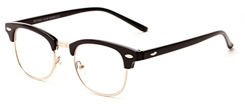 Readers.com The Fern Glossy Black/Gold Retro Cool Browline Style Reading - Browline Reading Glasses