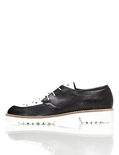 FIND Zapatos de Piel Brogue para Mujer Negro (Black)