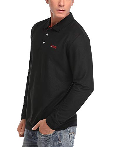 TIESOME Mens Long Sleeve Polo Shirt Slim Fit Contrast Color Golf Shirts