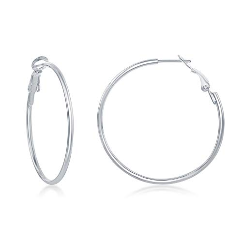 - 925 Sterling Silver Italian 2x40mm High Polished Omega Clip Hoop Earrings