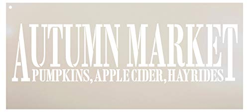 Autumn Market - Pumpkins, Apple Cider, Hayrides Stencil by StudioR12 | Reusable Mylar Template | Use to Paint Wood Signs - Pallets - DIY Country Fall Decor - Select Size (11