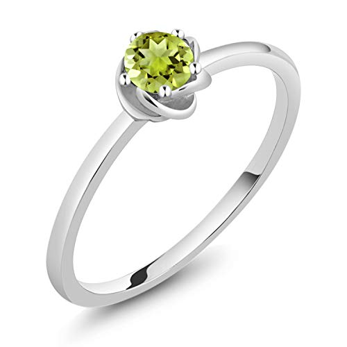 - Gem Stone King 10K White Gold Green Peridot Solitaire Engagement Ring 0.18 Ct Round (Size 7)