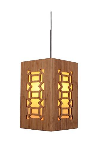 Woodbridge Lighting Woodbridge Lighting 14023STNWL-W3A2BB Light House Bamboo Pendant, Satin Nickel, Satin Nickel