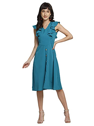 You Forever Women's Latest Stylish Cinched Waist Button Down A-line Dress Designer Ruffle Sleeves Office,Party, Outing Wear