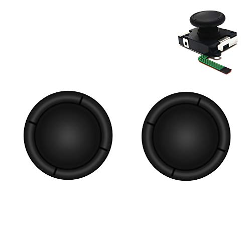 BRHE Replacement Thumb Grip Caps for Nintendo Switch Original 3D Analog Stick and Nintendo Switch Lite Joy Con Joystick Silicone Rubber Cover Set 2 Pack (Black)