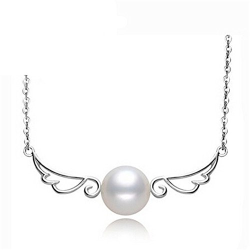Black Angel Wings Costume Australia (My.Monkey Natural Pearl Angel Wings Design Contracted Girl Gift Jewelry Necklace)