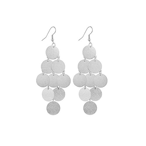 MIXIA Lightweight Small Mini Brushed Disc Round Sequins Coin Tassel Dangle Earrings Minimalist Everyday Simple Jewellery Gift (Silver)