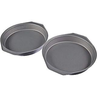AmazonBasics Nonstick Carbon Steel Round Baking Cake Pan, 9 Inch, Set of 2