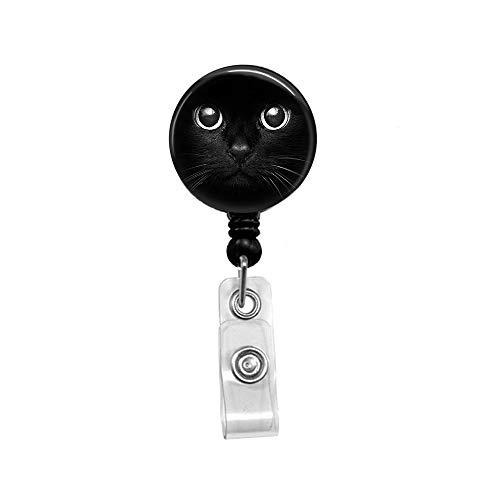 Cat face Retractable Badge Reel with Alligator Clip,Name Nurse ID Card Badge Holder Reel, Decorative Custom Badge Holder ()