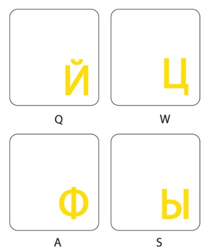 RUSSIAN KEYBOARD STICKERS WITH TRANSPARENT BACKGROUND WITH YELLOW LETTERING FOR COMPUTER LAPTOPS (Keyboard Stickers For Computers)