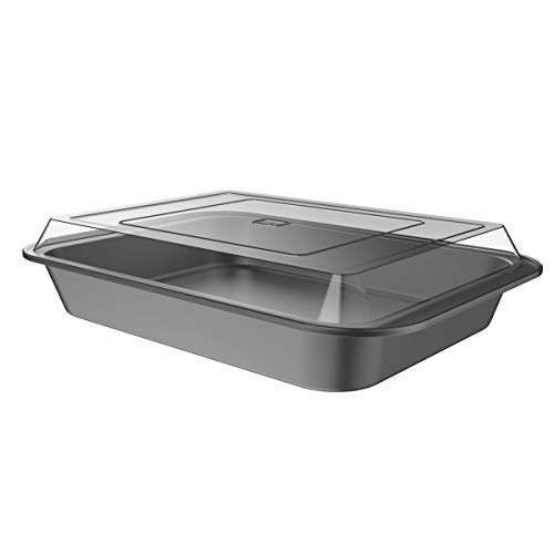 """Classic Cuisine 82-KIT1102 Baking Pan with Lid 2PC Nonstick Rectangular Bakeware Set-9""""x13"""" For Sheet Cake, Brownies, Bars, Lasagna and More-Kitchen Cookware"""